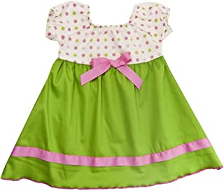 product image for Cheeky Banana Baby/Toddler Girls Dot Peasant Dress Lime Pink White