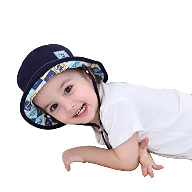 Fancyland Bob de Bébé en Coton Anti-UV 2 en 1 Casquette pour Enfant Garçon 7a53a58a693