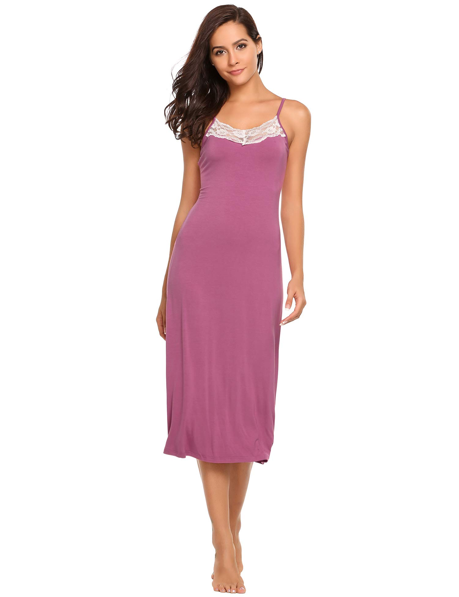Ekouaer Womens Sleepwear Nightgown Full Slips Lace Sling Dress,7137-lavender-long Style,X-Large