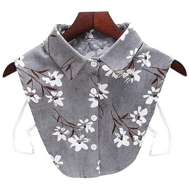 BASSK - Sudadera para mujer, cuello de camisa desmontable a rayas ...