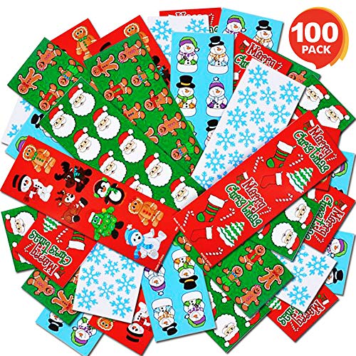 ArtCreativity Holiday Sticker Assortment - 100 Assorted Sticker Sheets of Christmas Themed Stickers - Great Christmas Party Favors, Goodie Bag Fillers, Holiday Decorations for Boys and Girls Ages 3+
