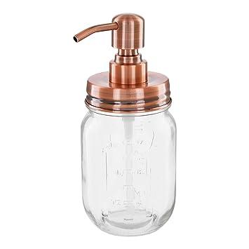 Vintage Seifenspender aus Retro Mason Jar 500 ml mit Edelstahl Pumpkopf Vintage Kupfer
