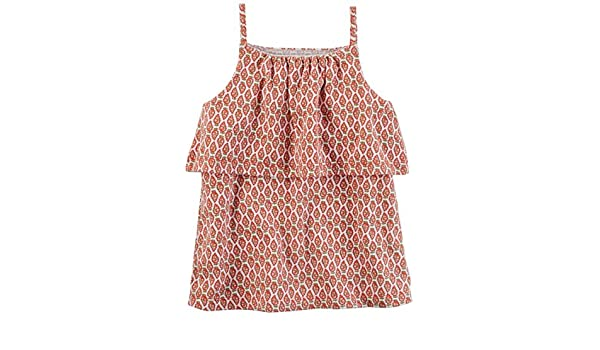 3T Carters Girl Geo Print Tiered Tank Top; Burnt Orange