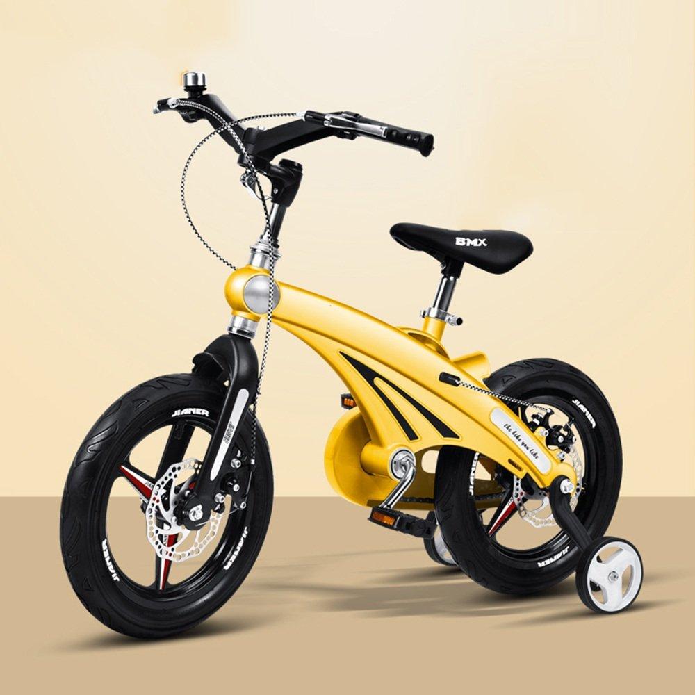 YANGFEI 子ども用自転車 子供の自転車12/14/16インチの少年の自転車ベビーキャリッジマウンテンバイク自転車2-8歳のマグネシウム合金フレームダブルディスクブレーキ 212歳 B07DWTV3RP 14 inch|イエロー いえろ゜ イエロー いえろ゜ 14 inch