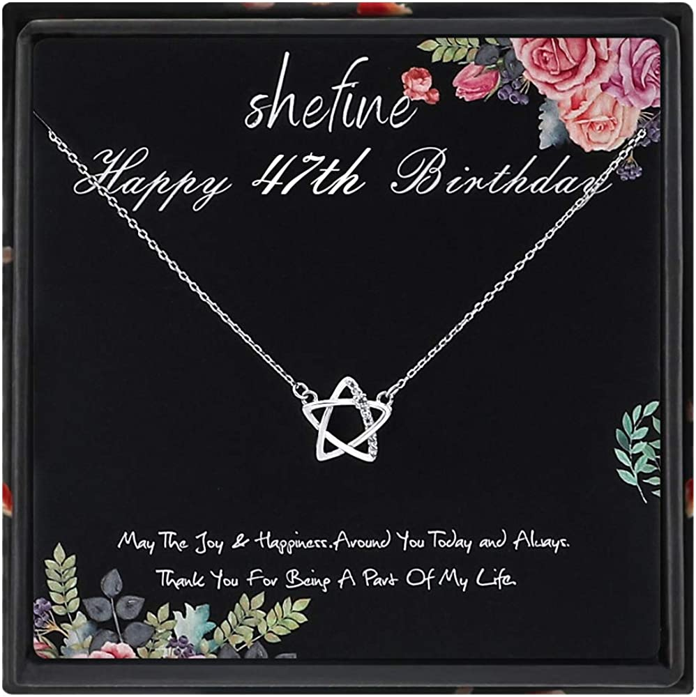 925 Sterling Silver Womens Pentagram with Zircon Necklace Funny 47th Birthday Gifts for Women 47th Birthday Gifts for Women 47 Year Old Birthday Gifts for Women