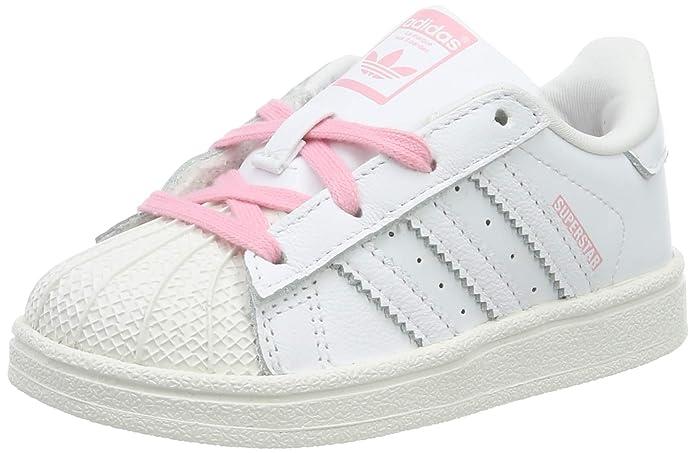 adidas Superstar Sneakers Baby Schuhe Unisex Weiß mit Rosa Schnürsenkeln