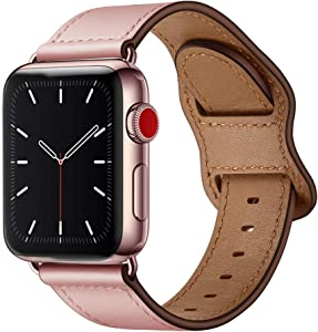 KYISGOS Compatible with iWatch Band 40mm 38mm 44mm 42mm, Genuine Leather Replacement Band Strap Compatible with Apple Watch SE Series 6 5 4 3 2 1 (Pink/Rose Pink, 40mm/38mm)