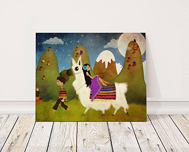amazon com llama canvas art print large wall art llama art canvas