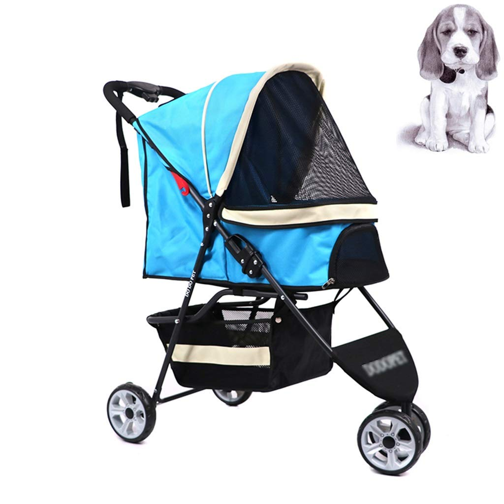 bluee 958036cm bluee 958036cm Dog stroller Pet Stroller Cat And Dog Three-wheeled Pet Stroller Collapsible Dog Cart Small And Medium Dog Pet Out Cart Supplies (color   bluee, Size   95  80  36cm)