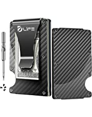 Dlife Carbon Fiber Men Mini Wallet Money Clip Screw Fixation Elastic Band Credit Card Holder RFID Blocking Wallet (Carbon 1)
