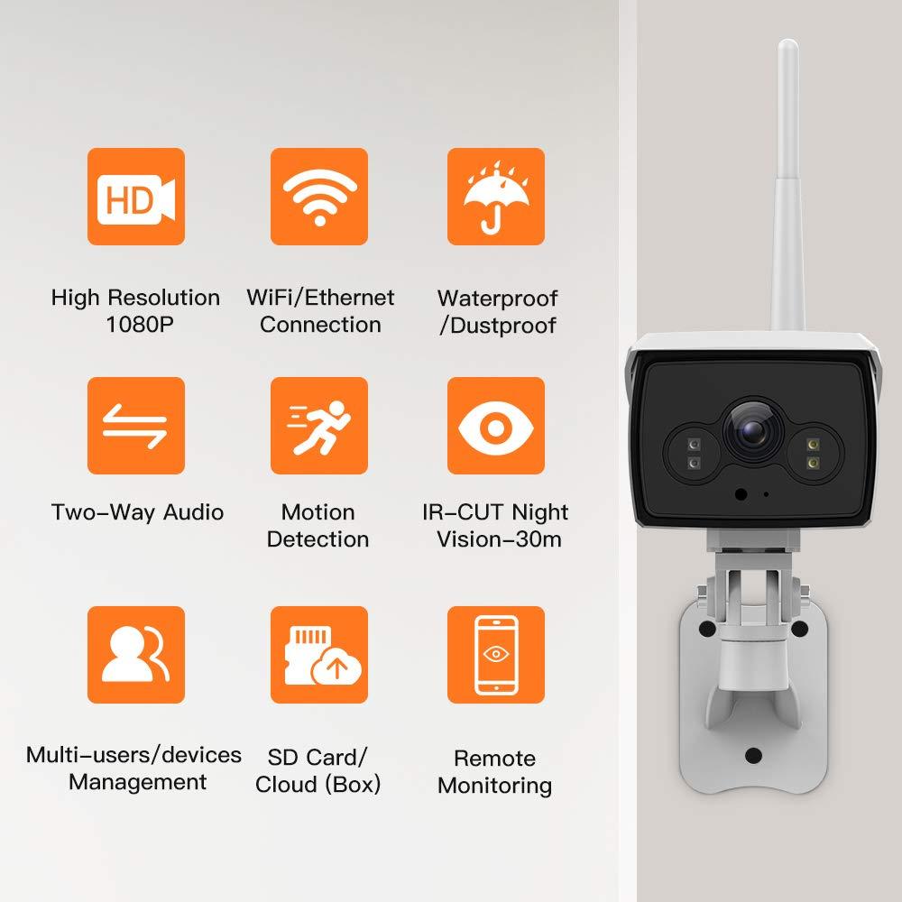 Cam/éra de S/écurit/é avec Vision Nocturne Cam/éra Surveillance WiFi avec /Étanche IP66 Bi-Audio D/étection de Mouvement-iOS//Android//Tablettes//PC Windows//Alexa Cam/éra IP Ext/érieur sans Fil 1080P HD