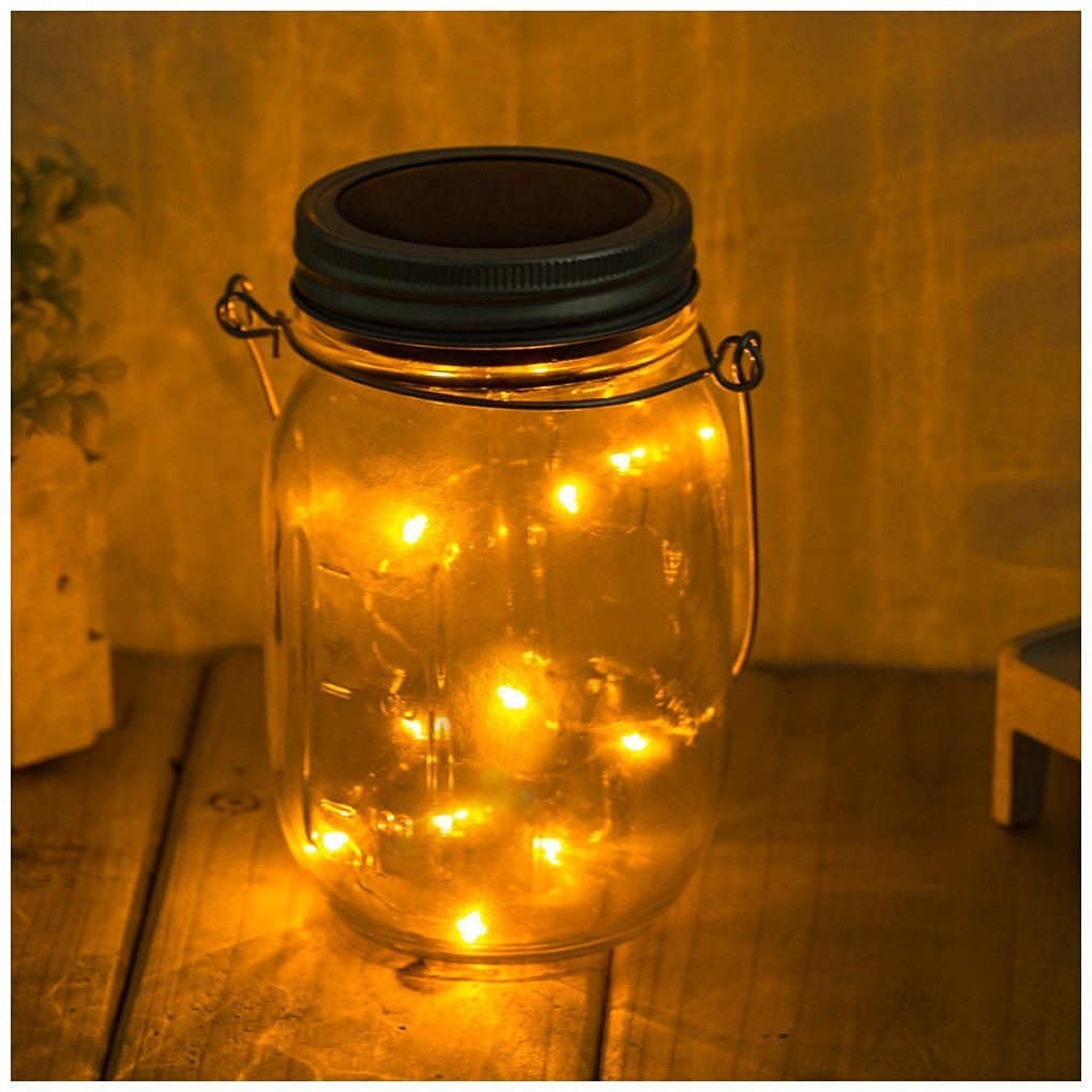 Bellesie Solar Mason Jar Lid Insert with LED String Lights - Warm White Firefly Lights, Hanging Lantern Lights with Wire Hanger for Garden, Patio, Outdoor Party Decorations