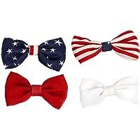 LUX Zubehör Rot Weiß Blau Patriotische amerikanische Flagge Haar Schleife Clips (4Stück)