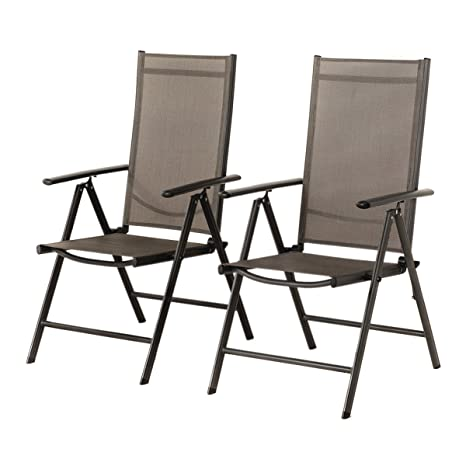 Grand Patio Conjunto de 2 sillas Plegables, Ajustables, Impermeables y Resistentes al Sol, para Jardín, terraza, Patio, Multi-Posición, Gris Carbón