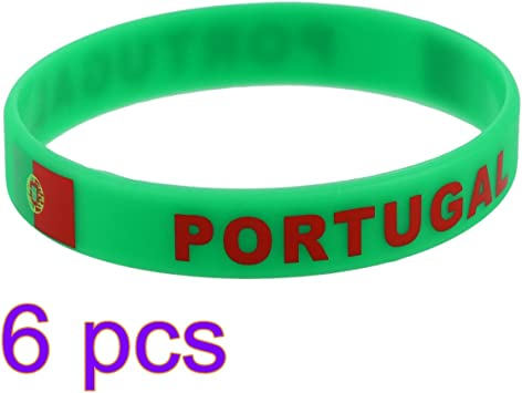 LUOEM 6pcs Pulsera de olimpiadas de país de Goma de la Copa del Mundo de Pulsera de Copa Mundial 2018 Portugal: Amazon.es: Juguetes y juegos