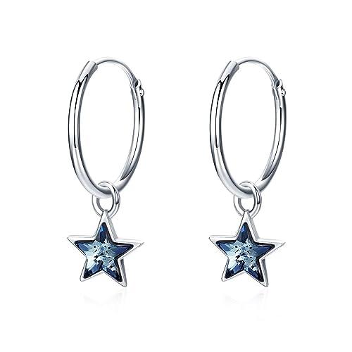 7ee25fff1 Cuoka Star Hoop Earrings Small Hoop Earrings Huggie Earrings Dainty Hinged  Sleeper Hoops for Women Girls