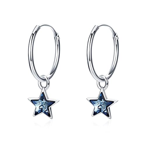 07ea290e0 Cuoka Star Hoop Earrings Small Hoop Earrings Huggie Earrings Dainty Hinged  Sleeper Hoops for Women Girls