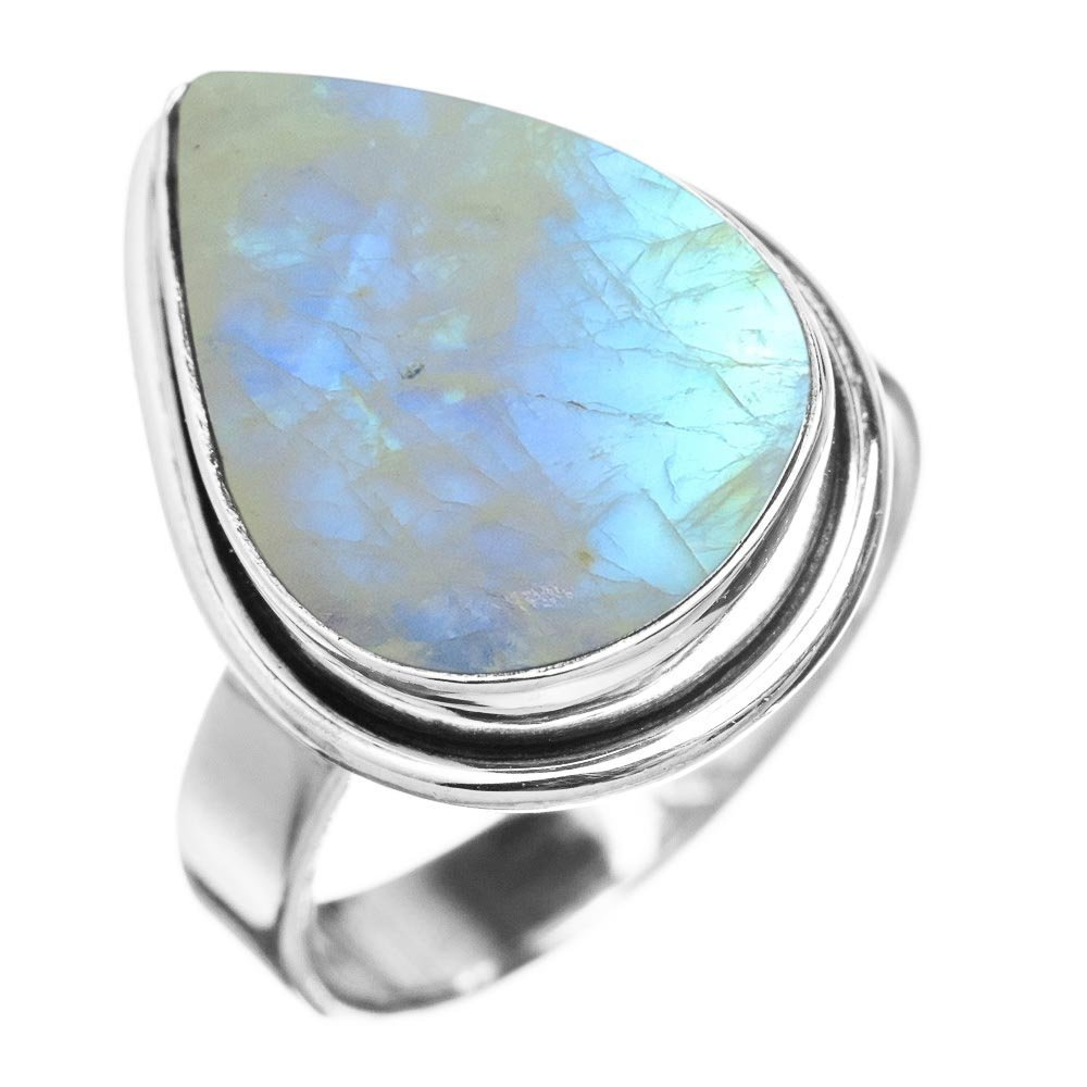 5.10ctw, Genuine Rainbow Moonstone 10x14mm Pear & .925 Silver Plated Handmade Fashion Ring (Size-7)