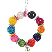 Innersetting Colorful Parrot Toys Vine Balls with Bell Climb Chew Hanging Decor Bird Toy