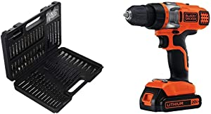 BLACK+DECKER BDA91109 Combination Accessory Set, 109-Piece with BLACK+DECKER LDX220C 20V MAX 2-Speed Cordless Drill Driver (Includes Battery and Charger)