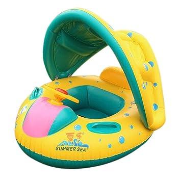 Yopin Flotador Bebé Flotador de Juguete con Asiento Parasol Desmontable Barca Bebé de Piscina para 1-3 Años de Edad: Amazon.es: Juguetes y juegos