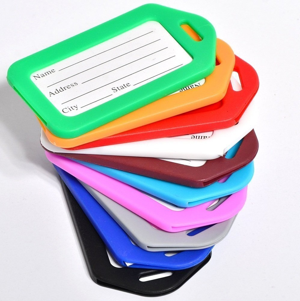 ANBANA 10 pcs Assorted Colors Plastic Travel Accessories Square-Shape Luggage tag/Identifier with Name Card