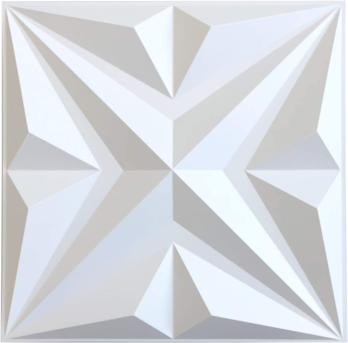 MIX3D PVC Wall Panels, 3D Wall Panels for Interior Wall Decor, Matt White Wall Decor PVC Panel, Star 3D Textured Wall Panels, Pack of 12 PVC Wall Tiles Each Box.
