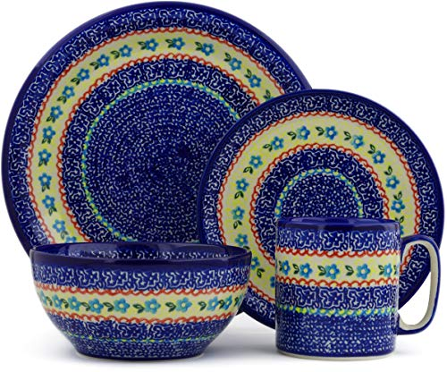 Rose Place Piece Setting 4 (Polish Pottery 4-Piece Place Setting (Flower Sea Theme) + Certificate of Authenticity)