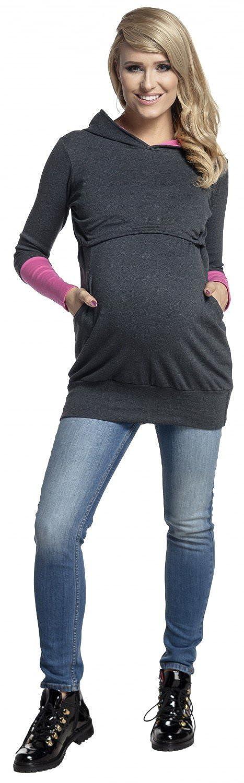 Happy Mama 137p Womens Nursing Hoodie Breastfeeding Contrast Detail Maternity