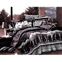 Luxurious 3D Bed Sheet Set Wild Life Animals and Scenery Print a pack of White Mountain Wolves in Gray, Purple and Black Color in King Size (King,WOLF-Y08)