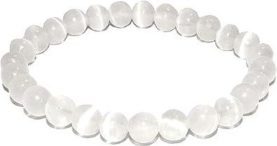 Spiritual Bracelet Stone Bracelet Bead Bracelet Women Gemstone Bracelets for Women Natural Gemstone Jewelry Selenite /& Onyx Bracelet