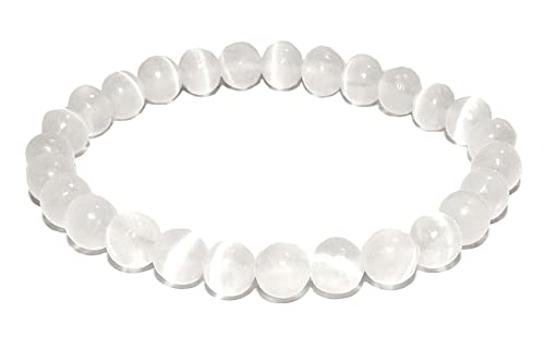 SunnyCrystals 10mm Selenite Bracelet Natural Gemstone High Vibration Healing Crystal Energy SLNB10