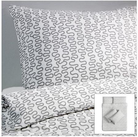 Ikea Krakris Housse De Couette Et Taies D Oreiller 4 Gris Blanc 200x200 50x80 Cm Amazon Fr Cuisine Maison