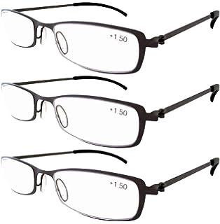fa25ad7b93 Eyekepper 3-Pairs Stainless Steel Frame Reading Glasses Gunmetal +3.5