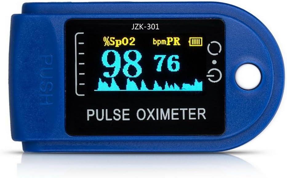 D&F Oxímetro de Dedo Medidor de Oxígeno en Sangre y Monitor de Frecuencia Cardíaca con Pantalla OLED, Pulsioxímetro Oxígeno en Sangre para Adultos y Niños (Baterías AAA no incluídas)