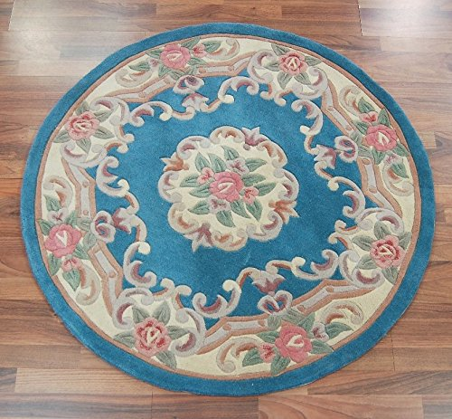 Tufted Aubusson Rug (Traditional Round Original Classic Aubusson Floral 100% Wool Hand Tufted Chinese Rug, Blue -120 x 120cm by eRugs)