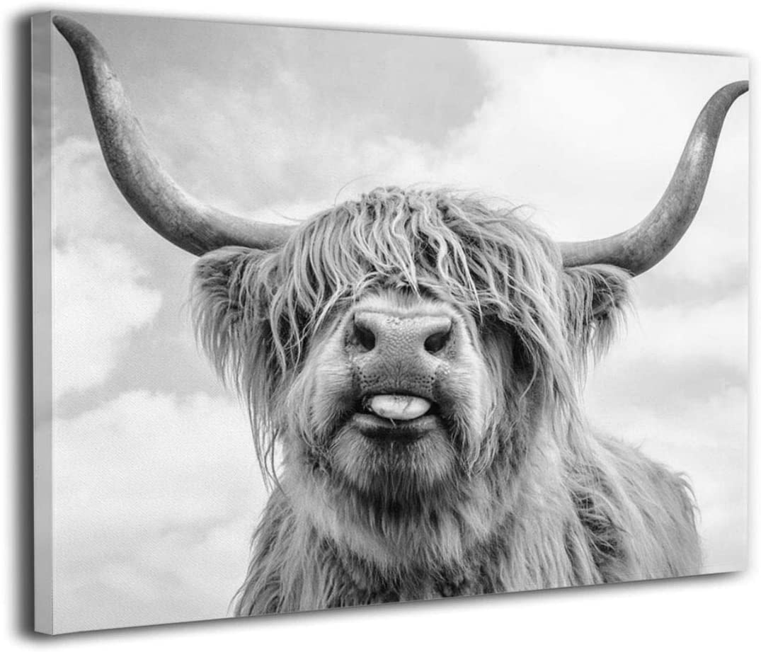 Canvas Print Wall Art Freedom Highland Cow Picture Painting For Living Room Bedroom Modern Home Decor Ready To Hang Stretched And Framed Artwork 16''x20''