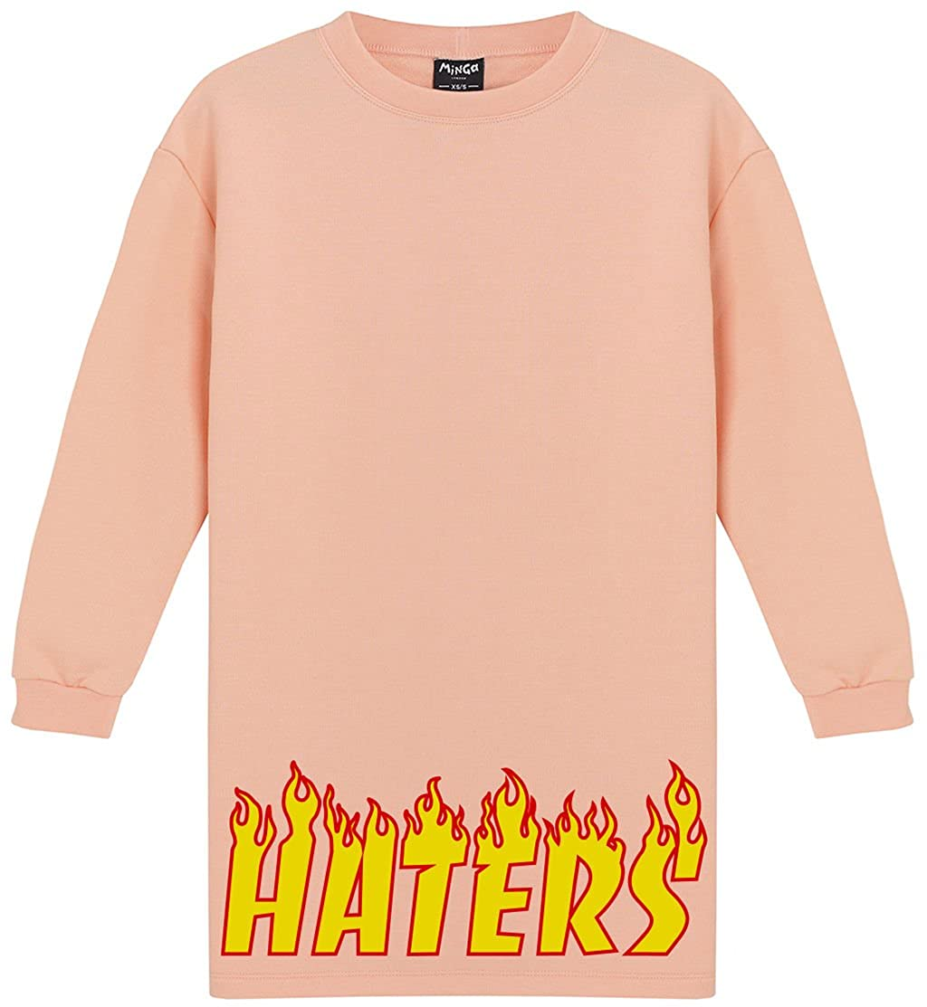 Haters Dress Sweater Jumper Womens Tumblr Grunge Fire Flames Skater at Amazon Womens Clothing store: