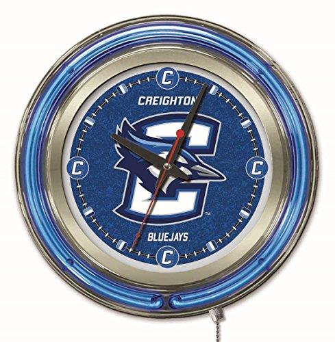NCAA Creighton Blue Jays Double Neon Ring 15-Inch Diameter Logo Clock
