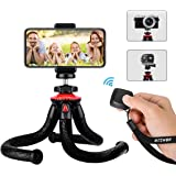 Tripod For Phone & Camera, BlitzWolf 28.5cm Flexible Tripod with Bluetooth Remote & Phone Holder for iPhone Android Smartphone, Waterproof Camera Tripod with 1/4'' Screw & Action Camera Adapter for Action Camera, DSLR Camera, 360 video action camera