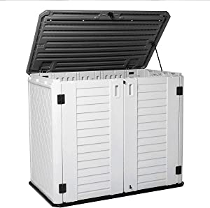 KINYING Horizontal Outdoor Garden Storage Shed for Backyards and Patios,Waterproof Storage Box,26 Cubic Feet Capacity for GarbageCans, Lawnmower,Tools and Garden Accessories,Light Beige (White)