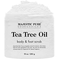 MAJESTIC PURE Tea Tree Body and Foot Scrub - Strong Shield against - Best Exfoliating Cleanser for Skin - Natural Help…