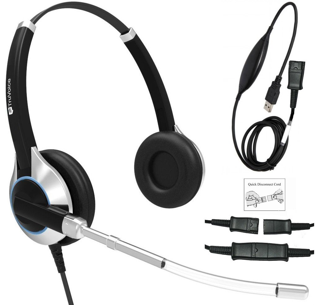 TruVoice HD-350 Deluxe Double Ear Voice Tube Office / Call Center Headset With Detachable USB Bottom cable Included (For USB Softphones, Laptops and Computers) Skype Compatible