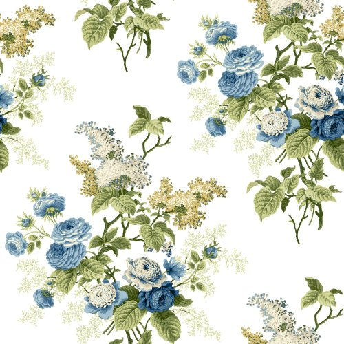 York Wallcoverings ER8178 Waverly Cottage Emma's Garden Wallpaper, White/Blue/Yellow Green/Beige/Butterscotch
