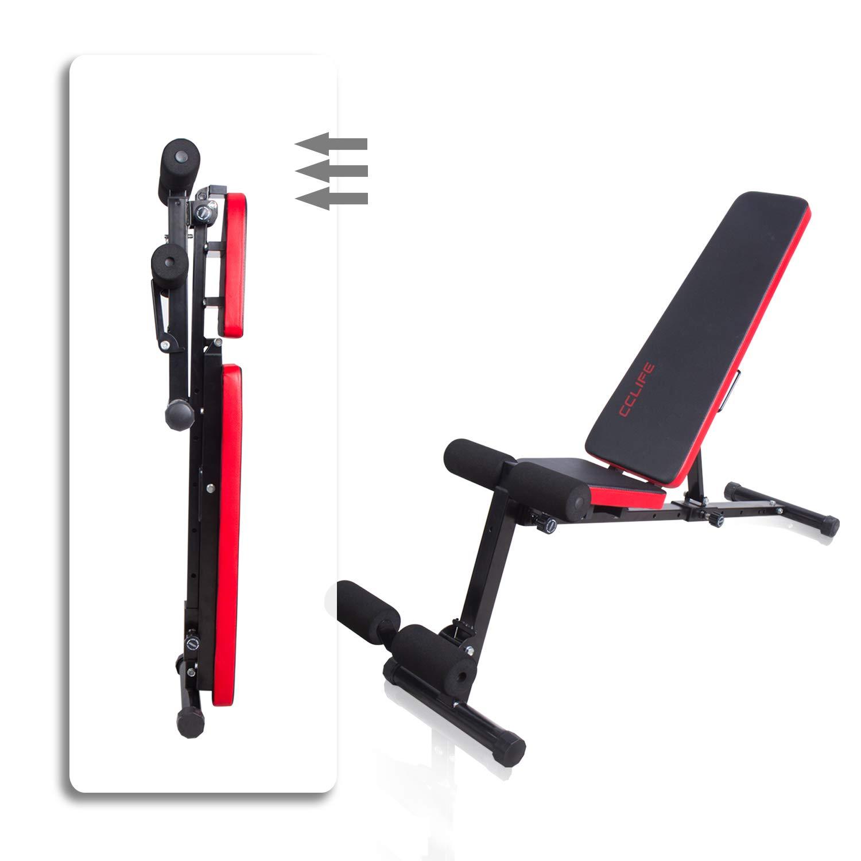 CCLIFE Banco de Musculación Multiposición Banco de Fitness o de Abdominales Ajustable,Plegable y Resistente a una Carga máxima de 600 kg, Color:Negro-020: ...