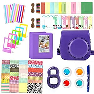 Fujifilm Instax Mini 8 Accessories, Leebotree 10 in 1 Camera Bundles Set Include Case/Album/Selfie Lens/Colored Filters/Wall Hang Frames/Film Frames/Border Stickers/Corner Stickers/Pen