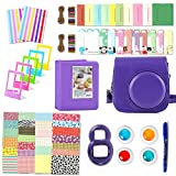 Fujifilm Instax Mini 8 Accessories, Leebotree 10 in 1 Camera Bundles Set Include Camera Case/Album/Selfie Lens/Colored Filters/Wall Hang Frames/Film Frames/Border Stickers/Corner Stickers/Pen (purple)