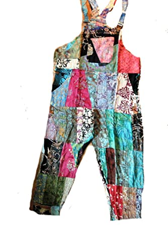 92126290c79 Fair Trade Patchwork Dungarees with Real Patches by Terrapin  Amazon.co.uk   Clothing