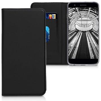 kwmobile Funda para LG K11 / K11+ / K10 (2018) - Carcasa para móvil de Cuero sintético - Case Plegable en Negro