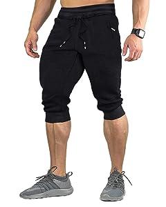 FASKUNOIE Men's Cotton Casual shorts 3/4 Jogger Capri Pants Breathable Below Knee Short Pants with Three Pockets